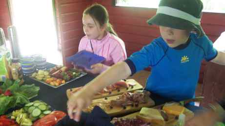 Digging into a generous lunch prepared by our guide at 1000 Islands Kayaking Company.