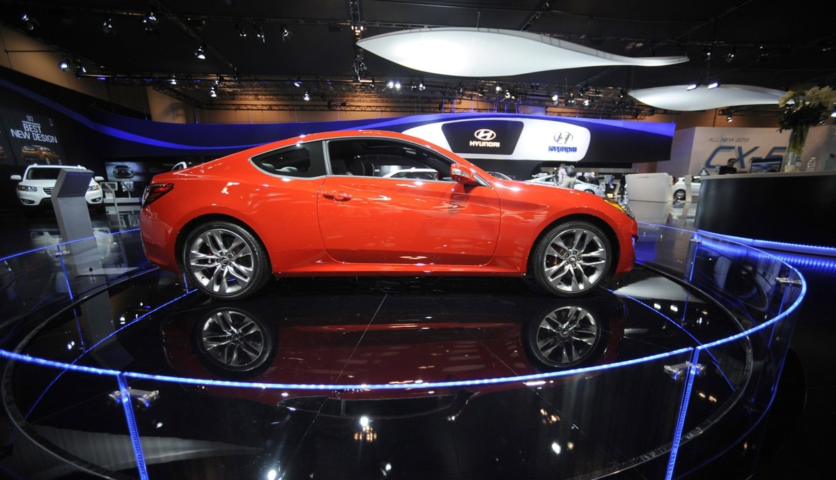 Hyundai Genesis Coupe at the media preview of the Canadian International Auto Show in Toronto.