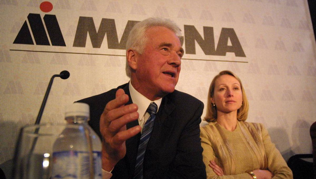 Frank Stronach, then chair of the board, and daughter Belinda Stronach, then president and CEO of Magna Corp. at an AGM in North York, Ont., in May, 2002.