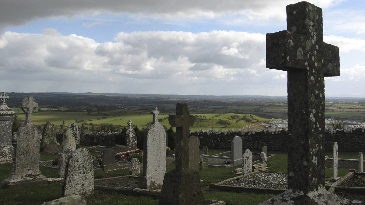 Katie Baglole photo: An Irish Cemetary - A cemetary in the Irish countryside decorated with beautiful crosses as far as the eye can see.