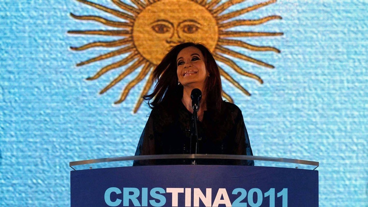 Argentine President Cristina Fernandez addresses supporters in Buenos Aires after winning the nationwide presidential election on Oct. 23, 2011.