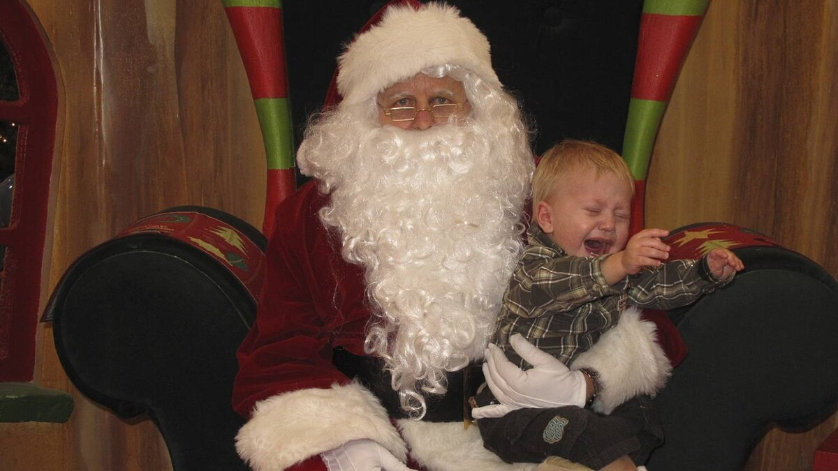 """Tracy Pulak-D'Aoust photo: Boo HO HO HO - All was well until the very last second when my poor Kaden erupted in tears... """"get me off of this white bearded man NOW!!!!"""""""