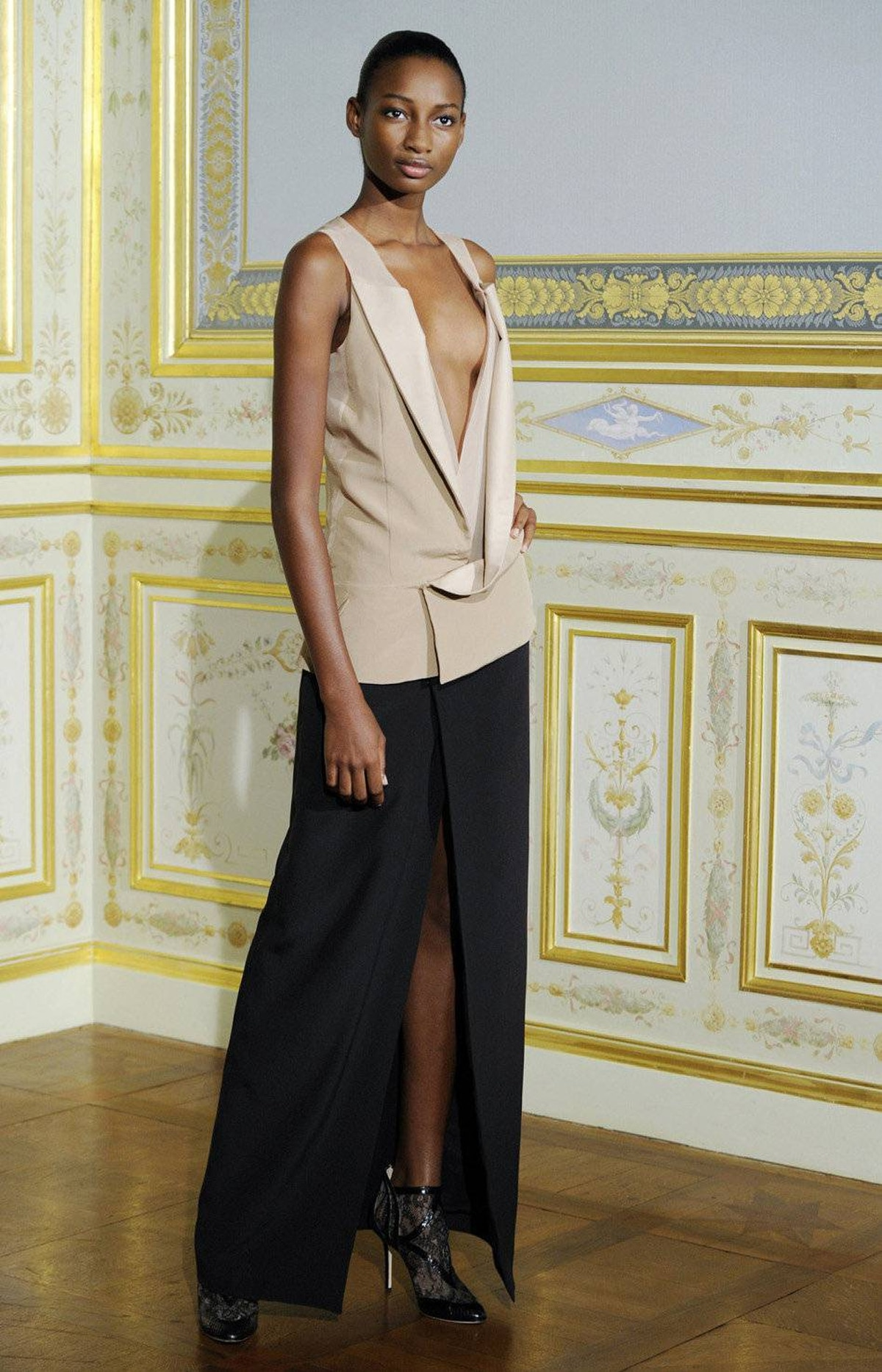 A model presents a creation by French fashion designer Anne Valerie Hash as part of her Haute Couture Fall-Winter 2011/2012 fashion show in Paris July 4, 2011.
