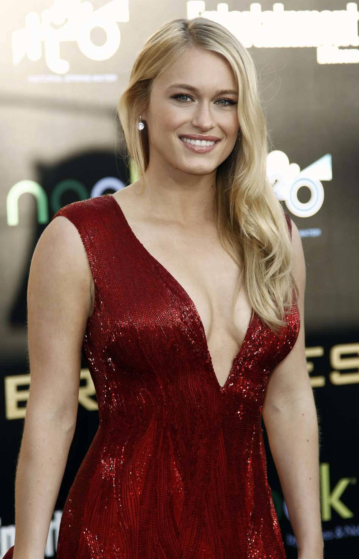 """A grateful Leven Rambin regains her composure at the world premiere of """"The Hunger Games"""" in Los Angeles on Monday."""