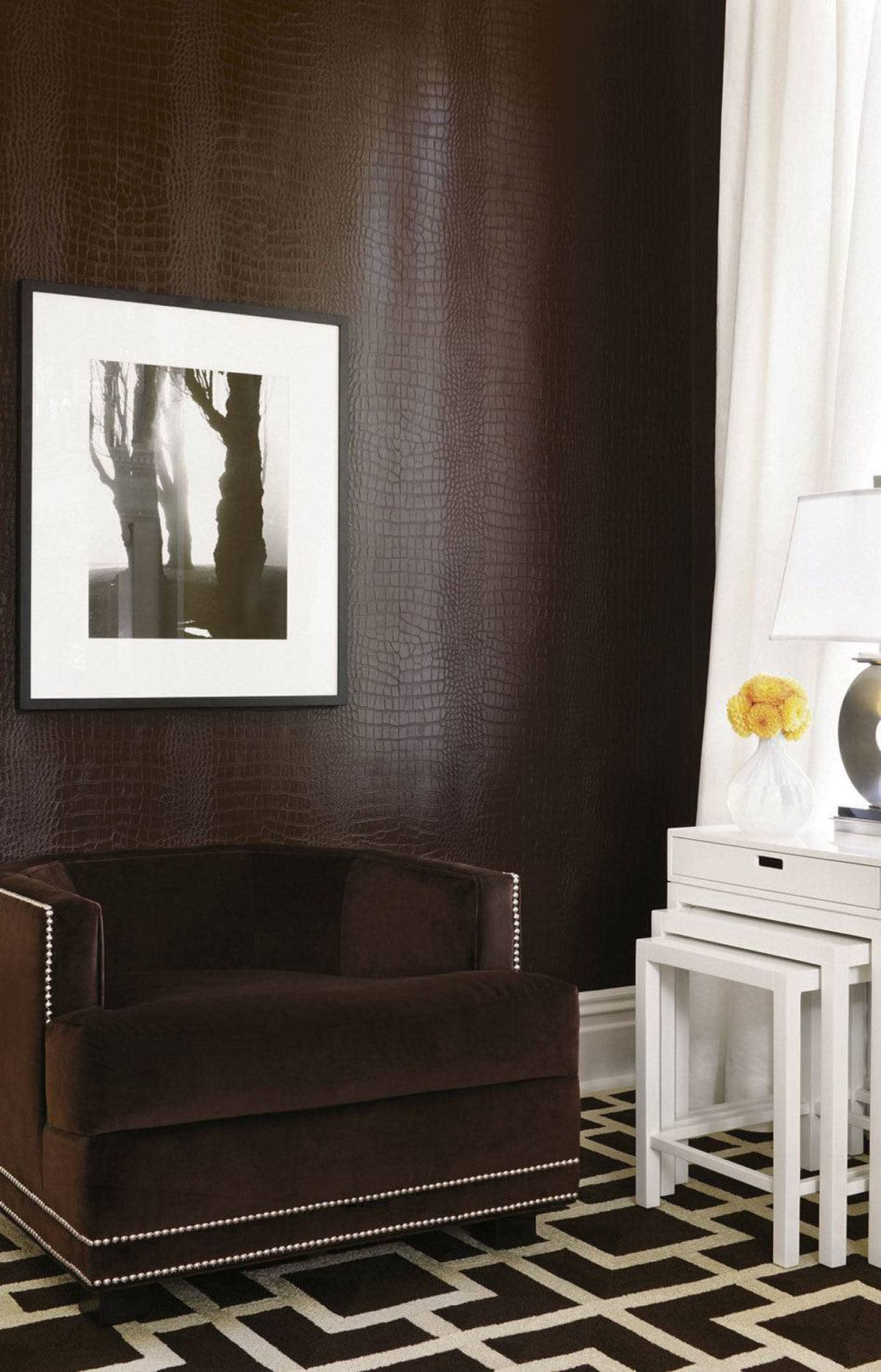 FAUX CROCODILE Greater Gator in Espresso(T6802), $79 a roll at Kravet Canada outlets nationwide (visit www.thibautdesign.com for locations)