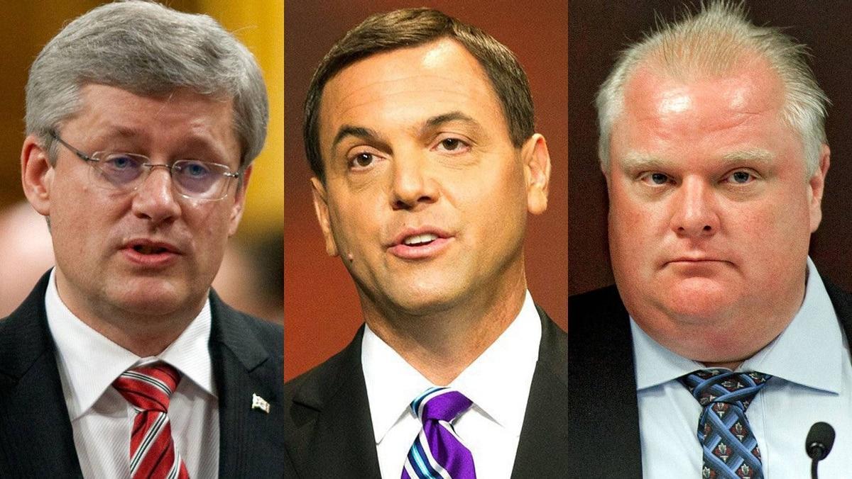 Prime Minister Stephen Harper; Ontario Progressive Conservative Leader Tim Hudak and Toronto Mayor Rob Ford are shown in a photo combination.
