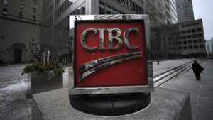 Exteriors of the CIBC sign located on the sidewalk outside the bank's head offices at the corner of King St. West and Bay St. on Dec 29 2011.