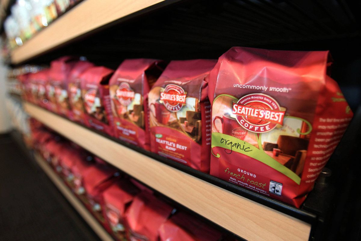 Starbucks' ground coffee product, Seattle's Best Coffee, is seen on display at the company's corporate headquarters in Seattle.