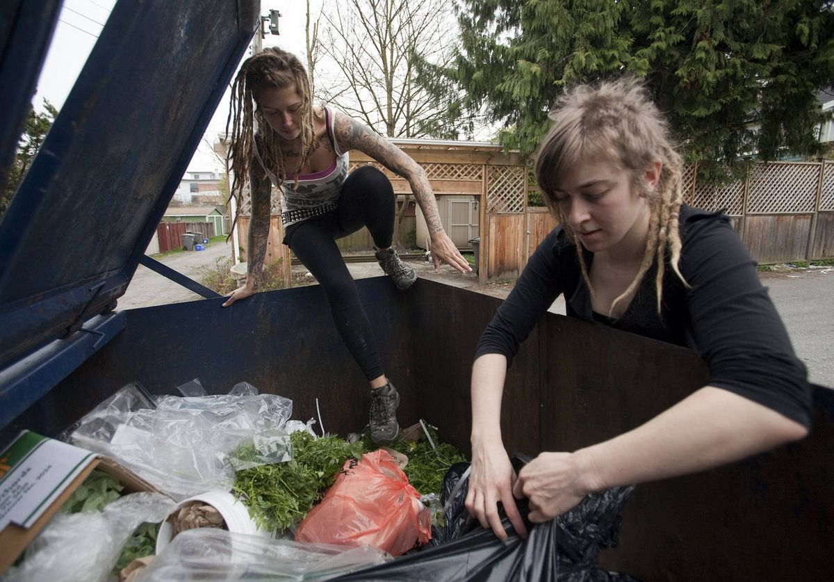May Wollf, a practising 'freegan', climbs into a dumpster while Robin Pickell tears open a garbage bag in an alley behind Commercial Drive in Vancouver.