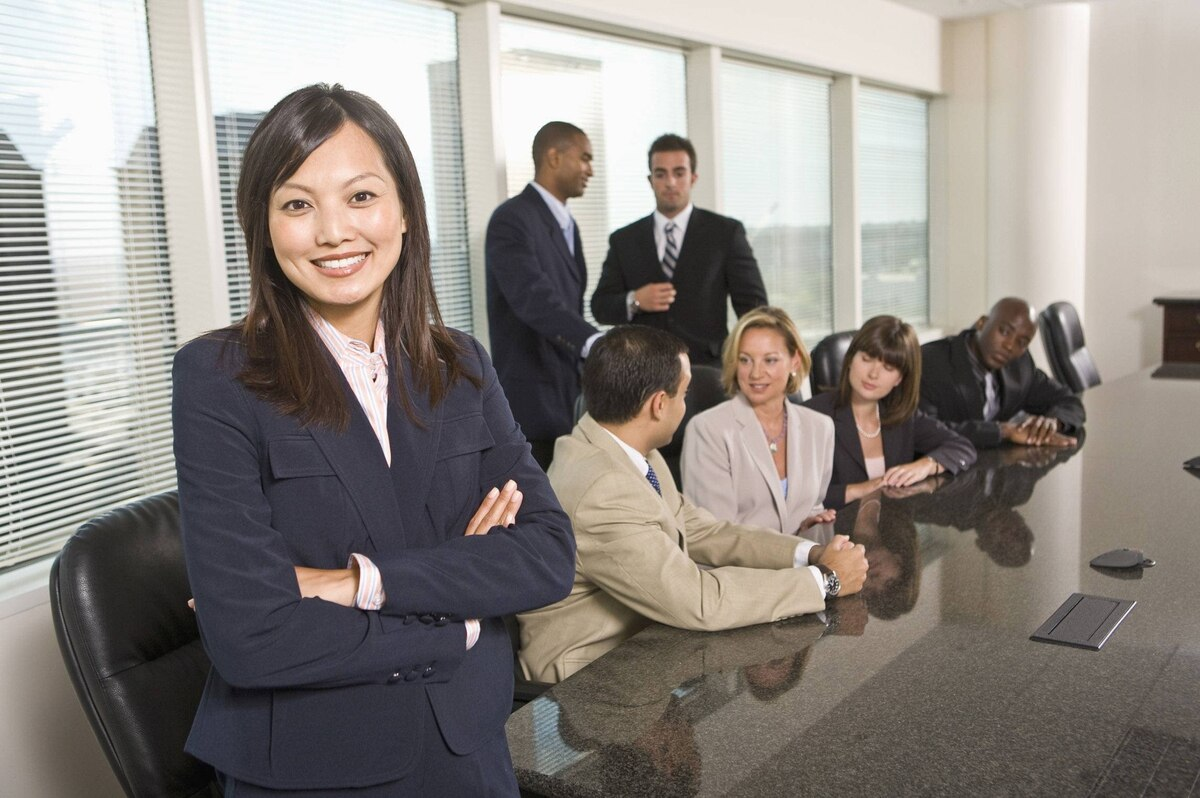 Business people at a meeting.