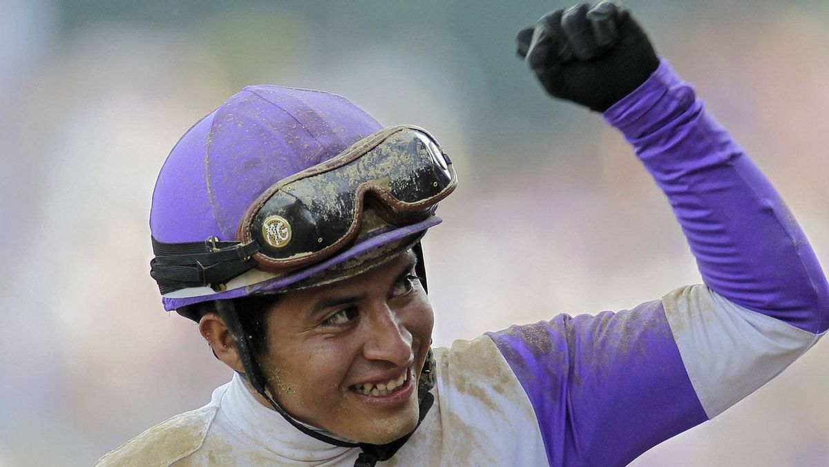 Jockey Mario Gutierrez reacts after riding I'll Have Another to victory in the 138th Kentucky Derby horse race at Churchill Downs Saturday, May 5, 2012, in Louisville, Ky. (AP Photo/Darron Cummings)