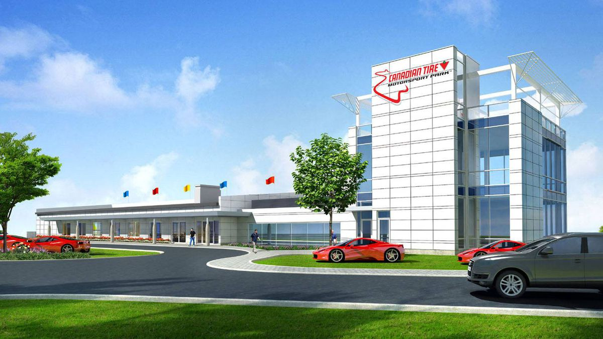 """The proposed new """"event centre"""" across from the pitlane at Canadian Tire Motorsport Park."""
