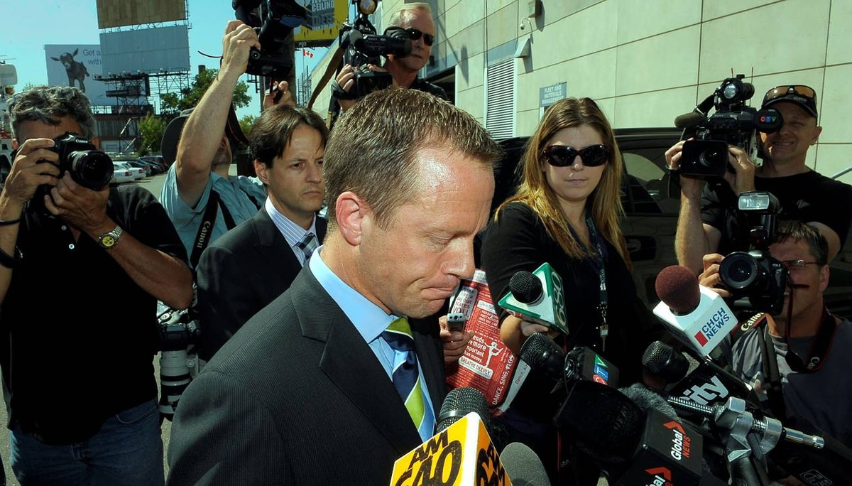 TORONTO.SEPT.1.2009 Michael Bryant, former Ontario Attorney genera; speaks to the media outside Toronto Police Services at 9 Hannah Ave.. this photo is full frame of lum4-010909d Bryant was involved in an incident that left a cyclist dead in the Yorkville area. PHOTO BY FRED LUM/ GLOBE AND MAIL DIGITAL IMAGE