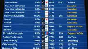 Many canceled flights are shown at O'Hare International Airport Monday morning, Dec. 27, 2010 in Chicago.
