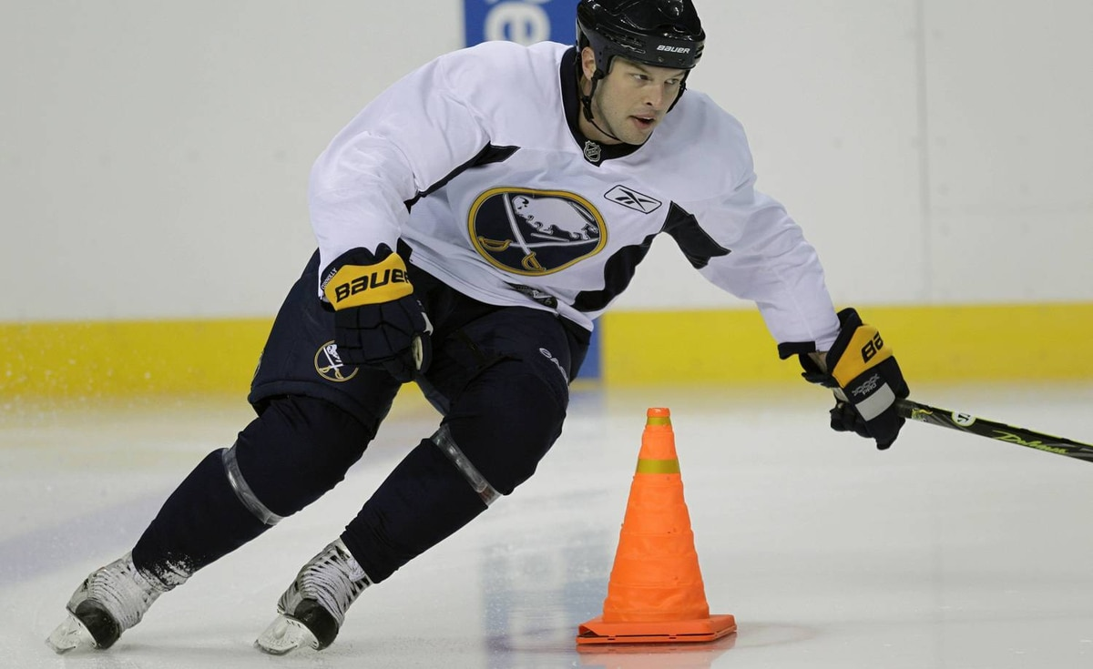 Buffalo Sabres' Tim Connolly skates during NHL hockey training camp in Buffalo, N.Y., Friday, Sept. 17, 2010. (AP Photo/David Duprey)