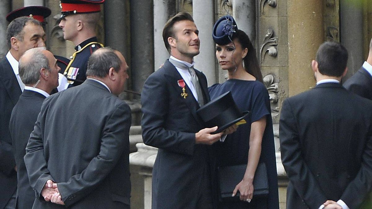 David Beckham and Victoria Beckham arrive to attend the Royal Wedding of Prince William to Catherine Middleton at Westminster Abbey on April 29, 2011 in London, England.