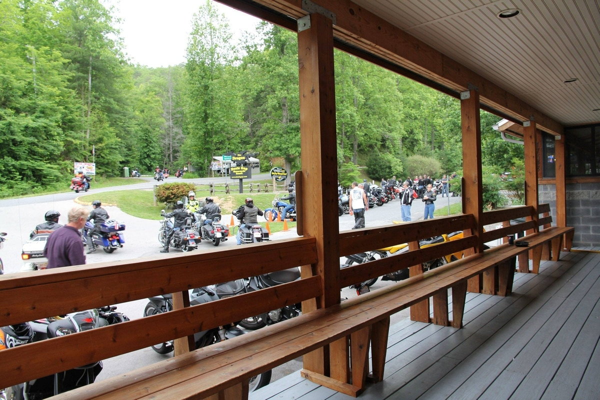 Deals Gap Motorcycle Resort, a leather-heavy stopping point along the legendary road known as The Tail of the Dragon.