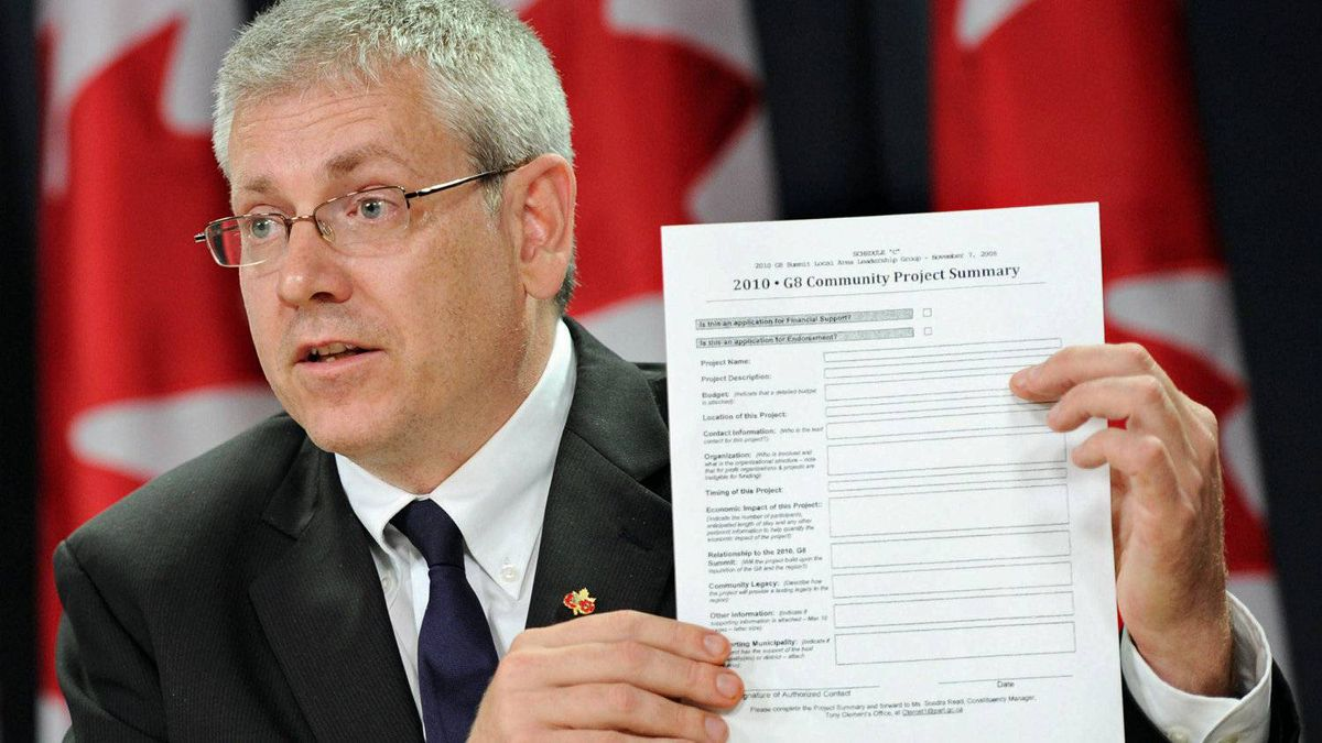 NDP MP Charlie Angus releases municipal files on the Conservative government's spending in advance of the 2010 Muskoka G8 summit at an Ottawa news confderence on Aug. 15, 2011.