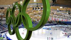 The Olympic Rings hang over Richmond Olympic Oval during speed skating training ahead of the Vancouver 2010 Winter Olympics February 8, 2010.