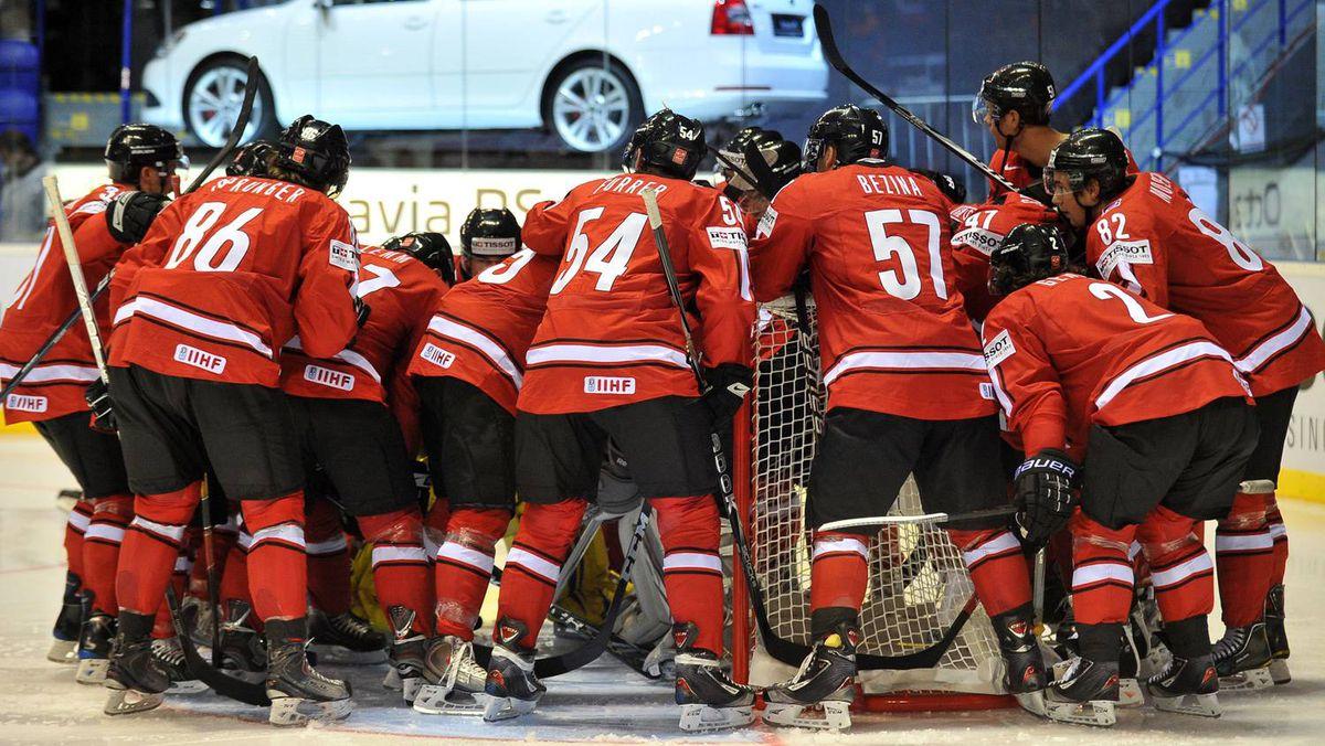 Swiss players regroup during the IIHF Ice Hockey World Championship group B match between Switzerland and Belarus.