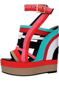 Multi-coloured canvas platforms by Pierre Hardy, $695 at The Room (www.thebay.com)