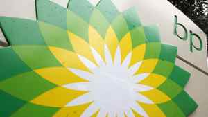 In this file photo made Oct. 25, 2007, the BP (British Petroleum) logo is seen at a gas station in Washington.