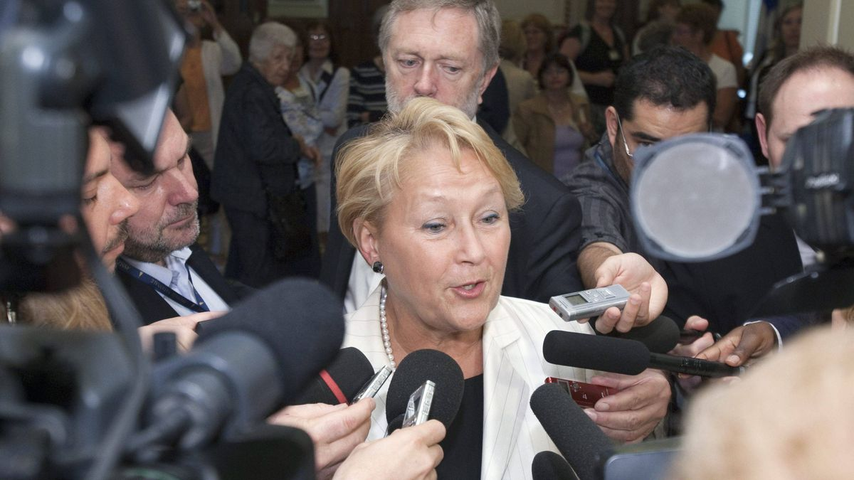 Parti Quebecois Leader Pauline Marois speaks to reporters at the end of a caucus meeting Tuesday, June 7, 2011 at the legislature in Quebec City. Marois faced the resignation of four members from her caucus in the last two days.