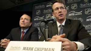 NHL commissioner Gary Bettman and True North Sports and Entertainment Limited chairman Mark Chipman