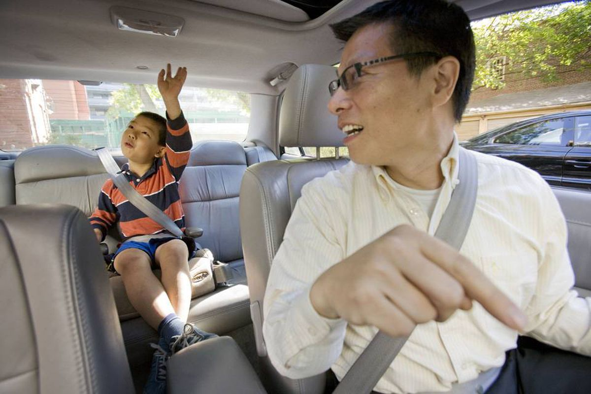 Researcher Kang Lee acknowledges he fibs to his own son: To stop Nathan from fidgeting, Mr. Lee tells him the hazard button is an 'eject' tool.