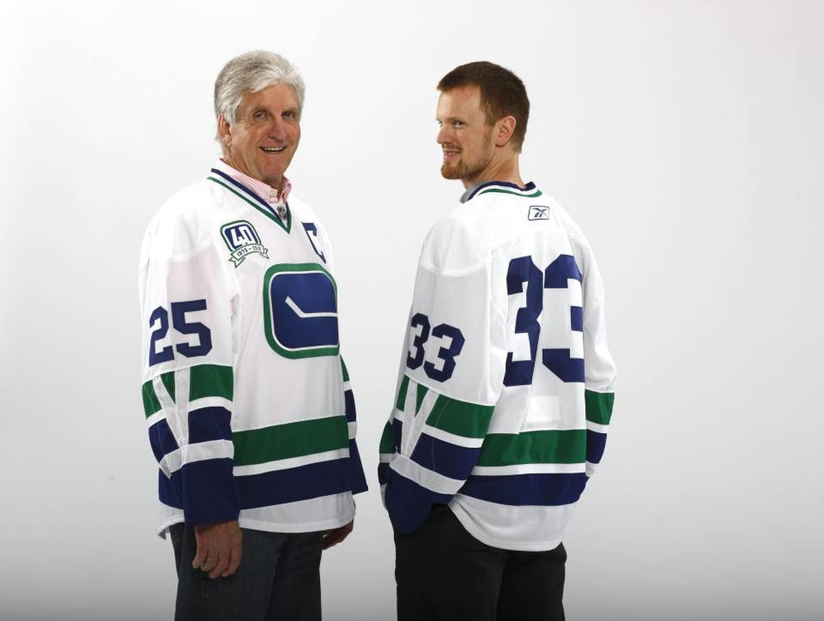 Original Canucks captain Orland Kurtenbach and current Canuck Henrik Sedin are pictured wearing the new, third sweater for the 2010-11 season.