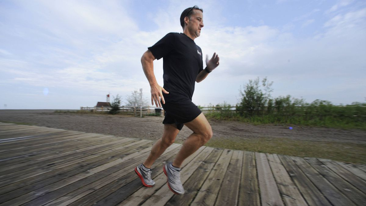 Runner Dave Emilio on the boardwalk in the Beach in Toronto. He's preparing for this fall's Scotiabank Toronto Waterfront Marathon.