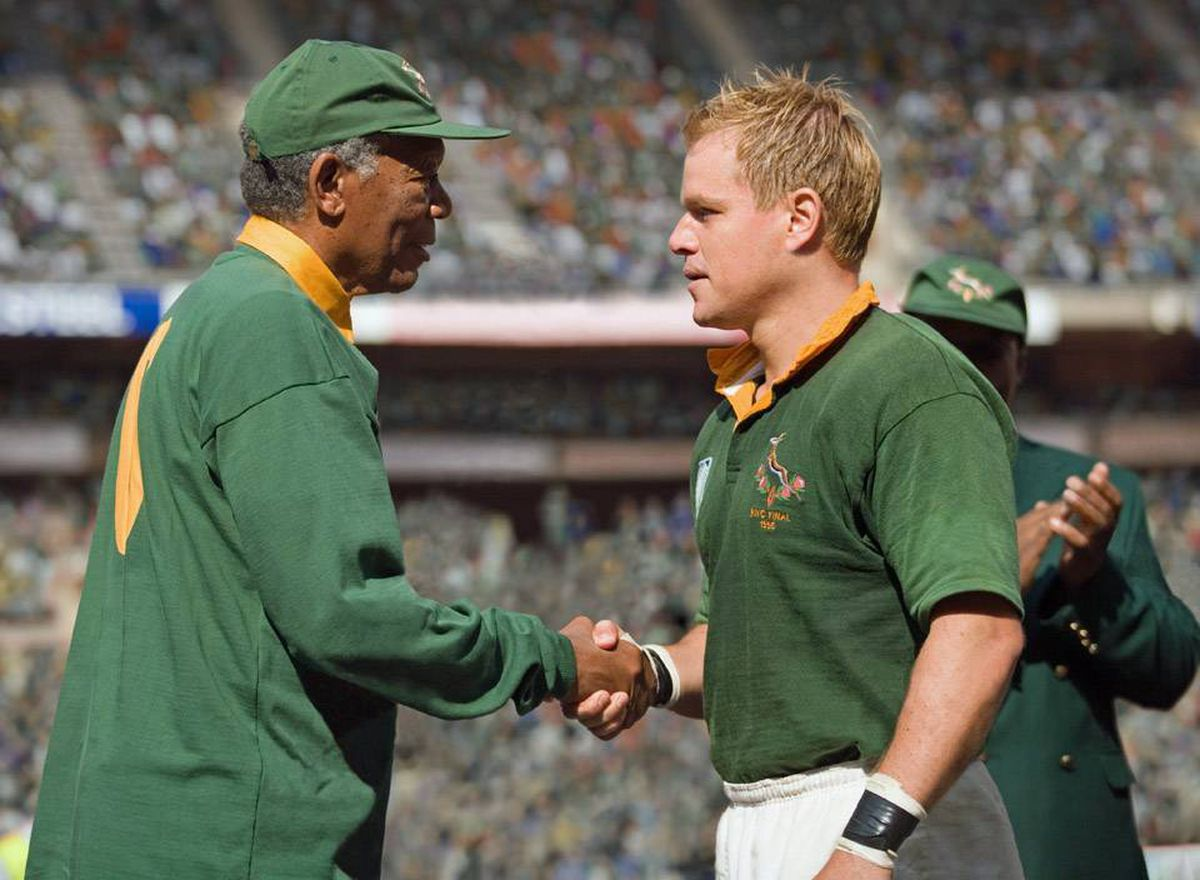 Morgan Freeman and Matt Damon: Invictus uses the game of rugby as a metaphor for political struggle, to show how the brutality of apartheid was channelled onto the playing field.