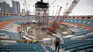 A view from atop the new roof structure for B.C. Place stadium in Vancouver November 5, 2010.