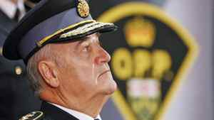Former OPP commissioner Julian Fantino attends the change-of-command ceremony in Toronto, Tuesday, August 31, 2010. He was succeeded by Chris Lewis.