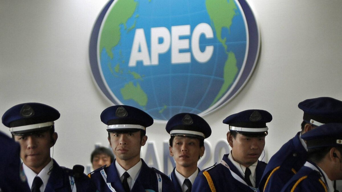 Japanese security officers stand guard at the APEC venue in Yokohama, near Tokyo on Wednesday.