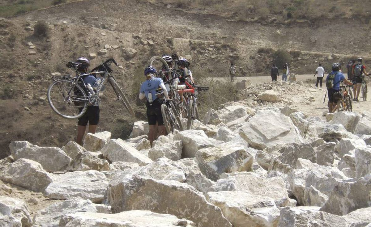 Another day of tough terrain on the Tour d'Afrique.