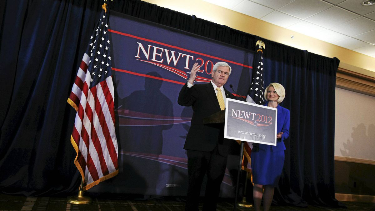U.S. Republican presidential candidate and former Speaker of the House Newt Gingrich stands with his wife Callista during a rally in Jacksonville, Fla., Jan. 30, 2012