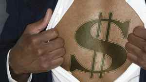 Businessman showing a dollar sign on his chest.