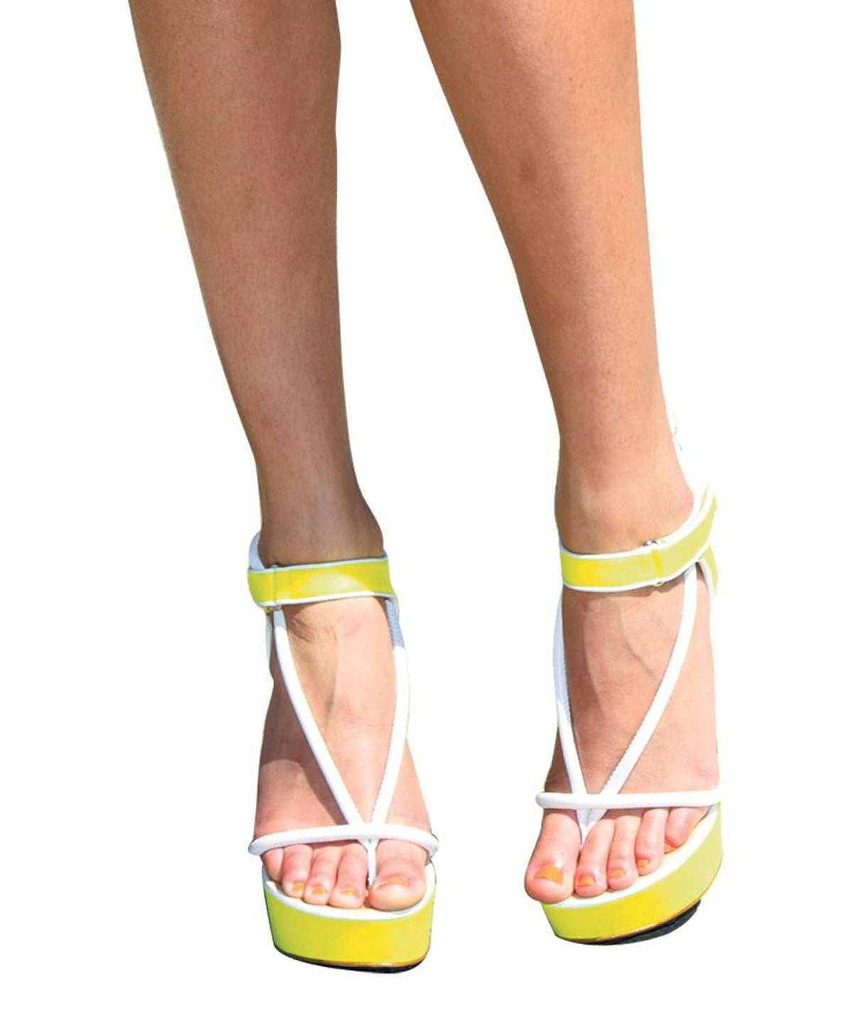 Bright heels: Think of this fluoro grouping as another way to tap into the intense colour blocking that has permeated ready-to-wear fashion. Expect all eyes to be focused on these intense yellow strappies (so get a good pedicure!) Christopher Kane heels, $835 at the Room at the Bay