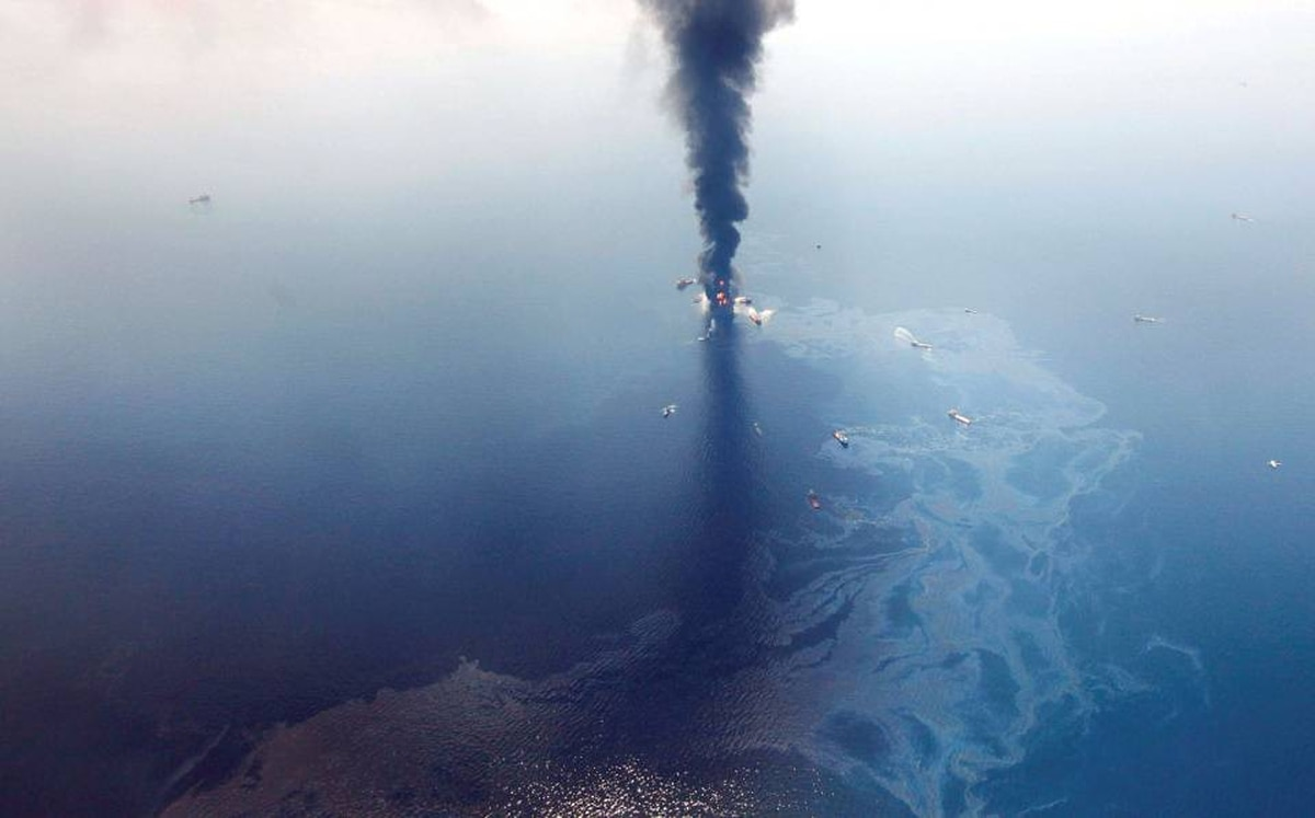 This April 21 aerial photo shows oil in the Gulf of Mexico as the Deepwater Horizon oil rig burned. Eleven workers were killed.