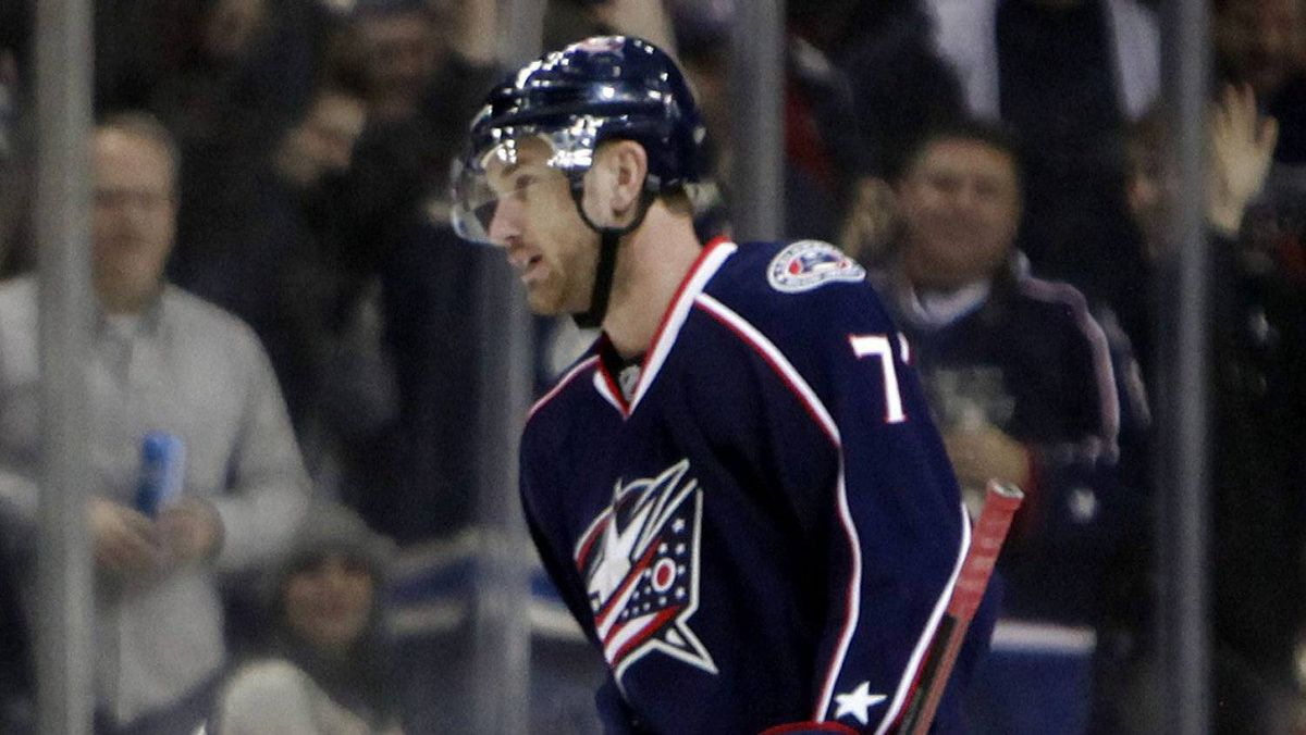 Columbus Blue Jackets' Jeff Carter (7) skates off the ice after scoring his third goal, during the third period of an NHL hockey game against the San Jose Sharks, Tuesday, Feb. 21, 2012, in Columbus, Ohio. The Blue Jackets won 6-3.