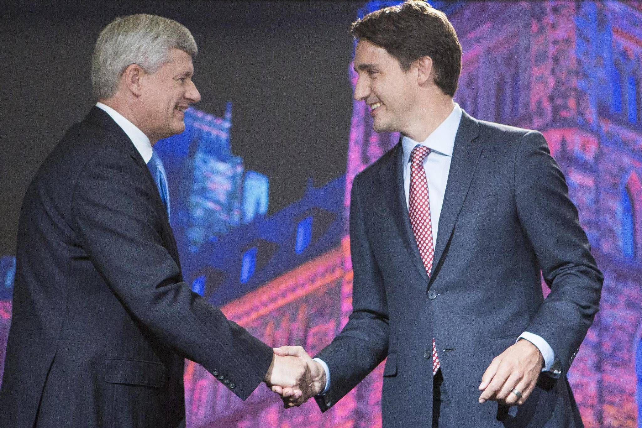 Image result for harper and trudeau