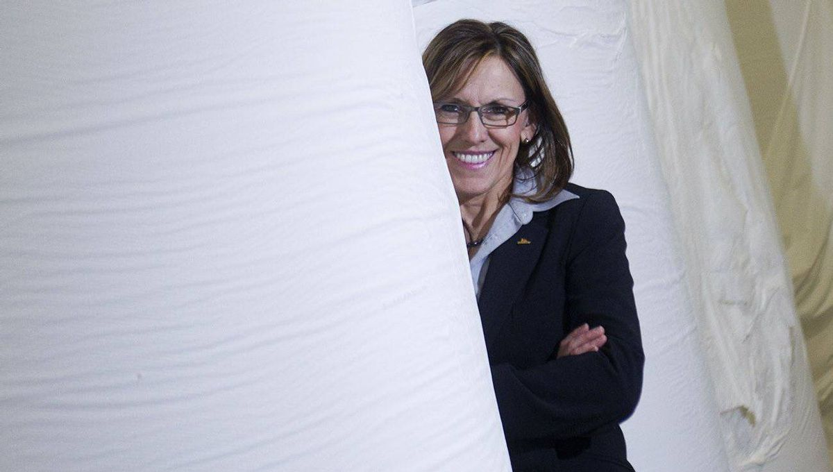 Suzanne Blanchet, president and CEO of Cascades Tissue Group, poses in Cascades' Candiac, Que. plant, March 3, 2011.