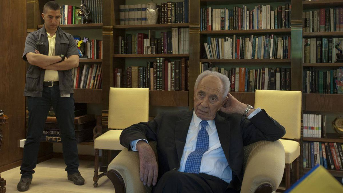 Israel's President Shimon Peres at his office in the Presidential Residence in Jerusalem.