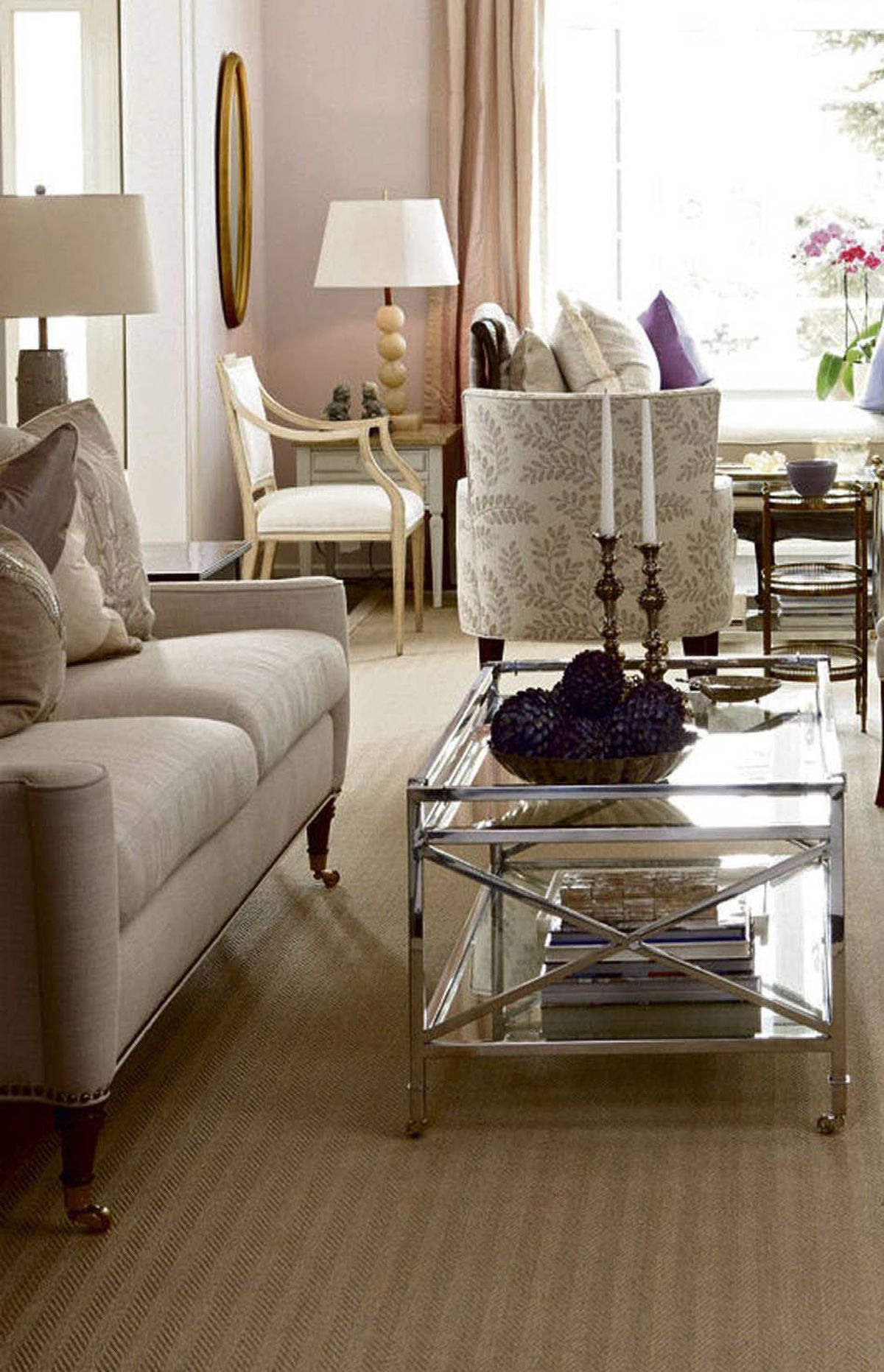 THE LOOK I need rooms designed for entertaining with sophisticated elegance. Since the living room is supposed to be a salon, it needs to appear properly appointed. I'm not into fabrics that can't stand up to family life, but a little polish and a nod to glamour are always important.