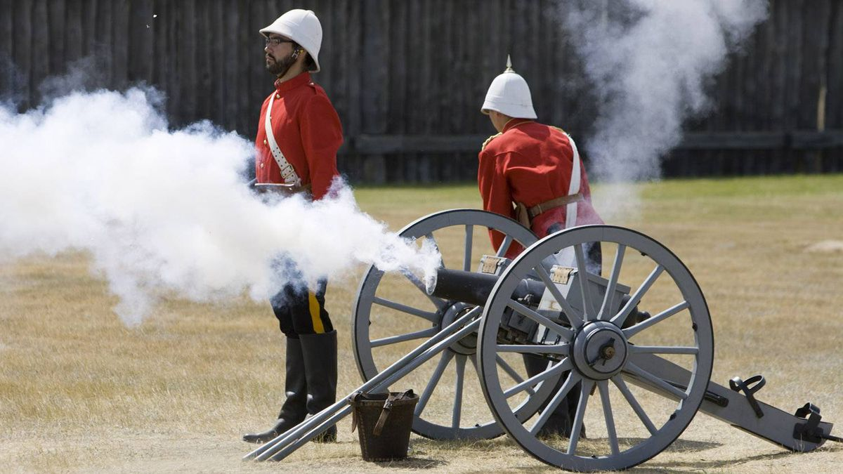 Fort Battleford employees dressed as North-West Mounted Police officers fire a cannon at the National Historic site of Canada located in Battleford, Sask. Established in 1876, the fort assisted in negotiations between government and first nations and a refuge for area residents during the North-West Rebellion/Resistance of 1885.
