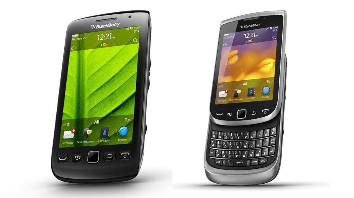Models of the RIM BlackBerry Torch 9860-9850 (left) and BlackBerry Torch 9810 (right) mobile phones are seen in this undated handout picture.