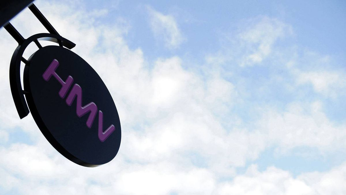 A HMV sign is seen outside a store in Harrogate, northern England, in this December 11, 2008 file photo.