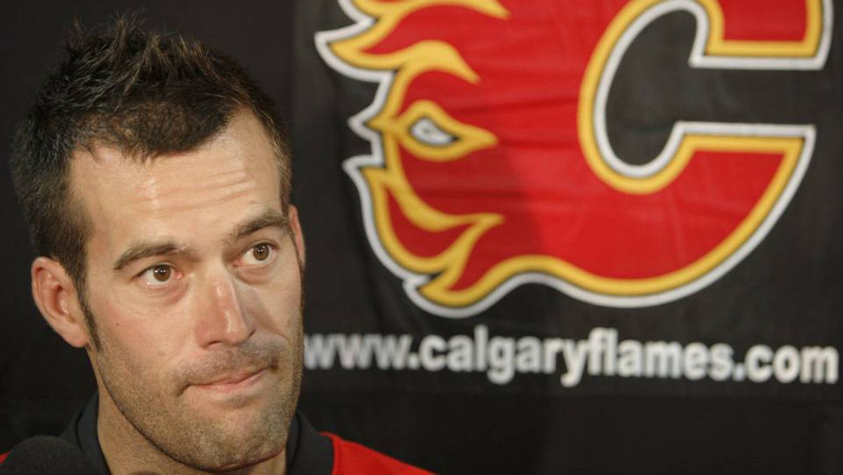 Todd Bertuzzi fields questions at a news conference where five new Flames players were introduced Tuesday, Aug. 26, 2008 at the Saddledome in Calgary.
