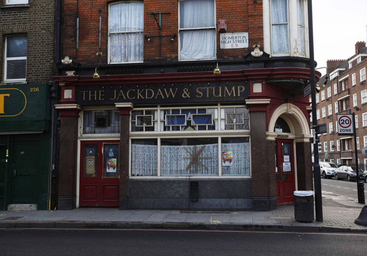 The Jackdaw and Stump pub is seen in east London.